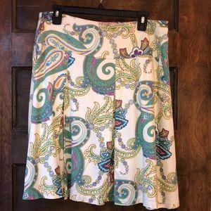 🔵IZOD pleated skirt colorful paisley print sz 12